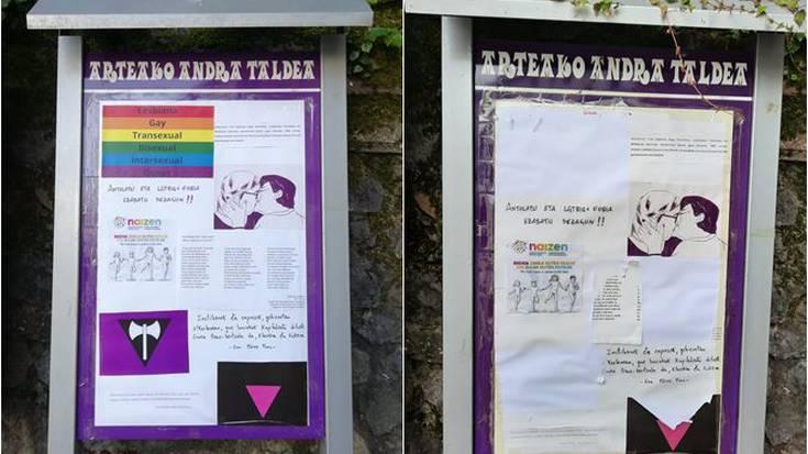 Kafangrak talde feministeak karteletako LGTBIQ+ ikurren apurketea salatu dau